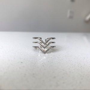 Pavé Chevron Ring - Silver